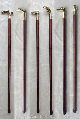 Walking Stick Timber Brass Colour Head Vintage Antique Style