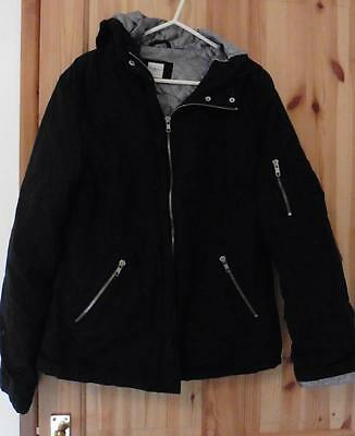 12y NEW LOOK girls black medium weight winter hooded school coat