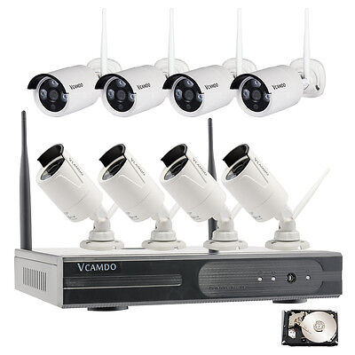 8CH HD Wireless WiFi Bullet IP Cameras Home Security CCTV System NVR Kit 3TB HDD