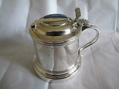 HALLMARKED STERLING SILVER MUSTARD POT & BLUE LINER - CHESTER 1918 - 126g/72.4g