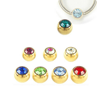 Gold plated Piercing Captive ball ring in 5mm with crystal Multicoloured