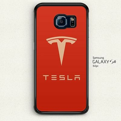 Original Tesla Motors Logo Red Hard Cover for Samsung Galaxy S6 Edge Case