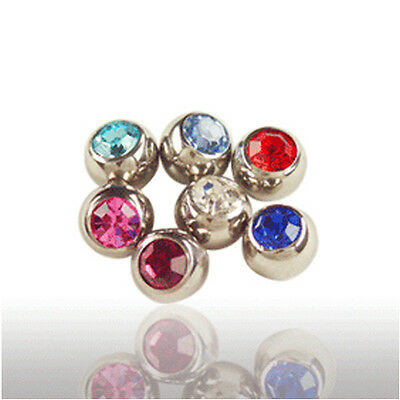 1,6mm x 5mm Steel Piercing Ball Screw ball with 1 Crystal many colors