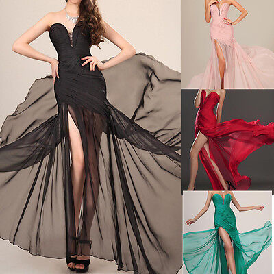 Dress long bridesmaid women party ball formal chiffon Evening Prom