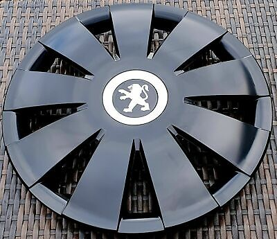 """Brand new black gloss 16"""" wheel trims hubcaps to fit Peugeot 407,308"""
