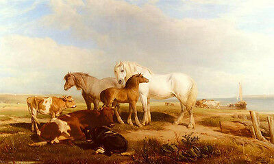 Nice Oil painting henry brittan willis, r.w.s. - horses and cattle on the shore