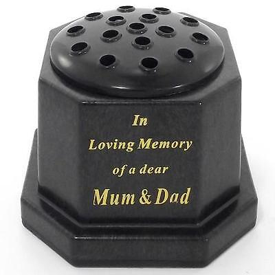 Black and Gold Memorial Grave Flower Vase In Loving Memory of a Dear Mum & Dad