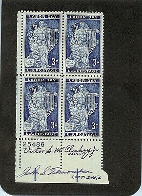 Us Autographed Plate Block Scott#1082, Labor Day Issue  2 Signatures Mnh Og