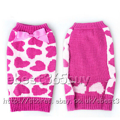 Sweet Heart Pet Dog Clothes Dress Puppy Cat Knitted Sweater Coat Jumper Apparel