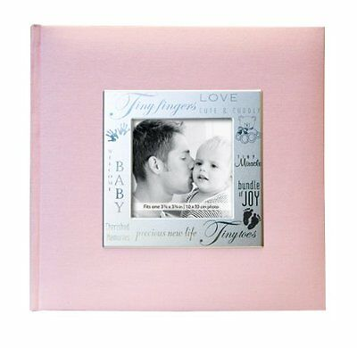 Photo Album Frame Front 200 Page Pocket Album in Baby Girl Pink Picture Family