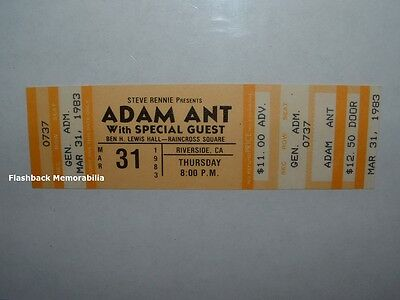 ADAM ANT / INXS Unused MINT 1983 Concert Ticket Stub RIVERSIDE CA Hutchence RARE