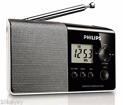 Philips AE1850/00 Portable Pocket AM FM Radio Backlit LCD Quartz Clock Speaker