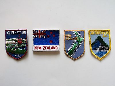 Vintage New Zealand Patch Lot - Flag, Queenstown, Milford-Haven, Island (4)