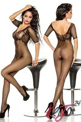 Netz Body Stocking Catsuit offen Overall schwarz Straps Body Dessous