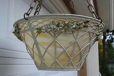 Vintage Stain Slag Glass Flower Basket Chandelier Ceiling Light Fixture