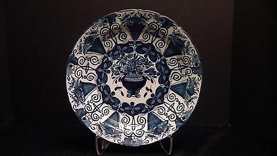 A Very Lovely Dutch Delft Charger With Flowers And Bells