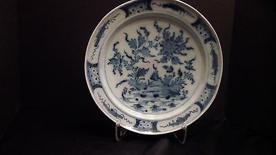 A Lovely Large Delft Charger With Water Plants