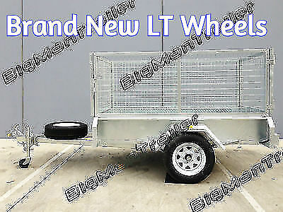 New 7x4 Galvanised Box Trailer with 800mm Cage 400mm Side Cheker Plate Mesh
