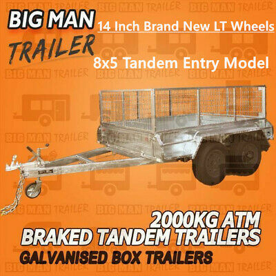 8x5 TANDEM AXLE BRAKED BOX TRAILERS GALVANISED CAGE AMT 2000KG