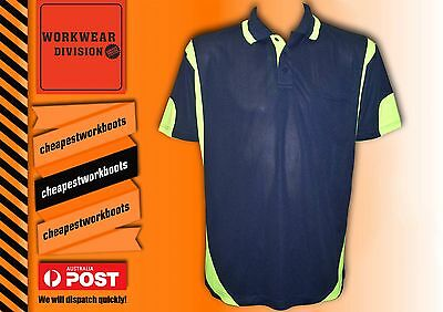 5 x HI VIS POLO SHIRT SAFETY WORKWEAR COOL BREATHABLE MICROMESH SHORT SLEEVE