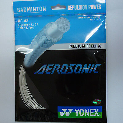 10 pkts YONEX BG AS AEROSONIC BG-AS Badminton String, 0.61 mm Super Power