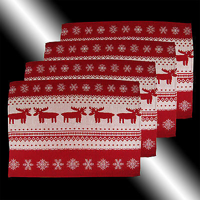Set Of 4 Vintage Lovely Red Christmas Elk Deer Tapestry Table Linen Placemats