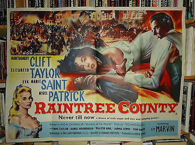 RAINTREE COUNTY/ELIZABETH TAYLOR+CLIFT// british quad poster