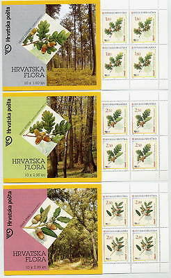 CROATIA 2002 Oak Trees booklets of 10 stamps MNH / **.  Michel 615-17