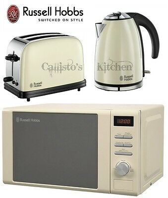 Russell Hobbs Colours 2 Slice Toaster and Kettle & Heritage Microwave Cream New