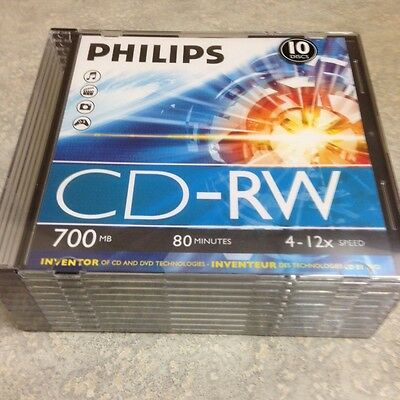 10-pk Philips 12x CD-RW Rewritable CD-R Blank Recordable CD Disc Disk CDRW80/546