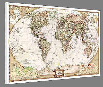 "Mounted World Map - National Geographic Executive 46"" x 30"" - World Pin Map"