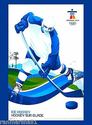 2010 Vancouver Canada Olympic Games Ice Hockey Travel Advertisement Poster