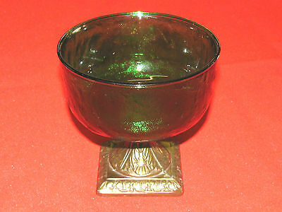 VINTAGE FROSTED GREEN GLASS COMPOTE with BRASS BASE