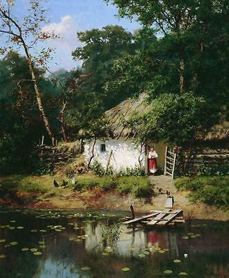 Oil painting Alexandr Kiselev - Ukrain House nice cottage landscape by pond 36""