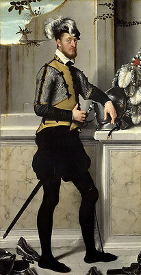 Oil painting Giovanni Battista Moroni - A Knight with his Jousting Helmet canvas