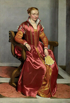 Oil painting Giovanni Battista Moroni Portrait of a Lady noble woman holding fan