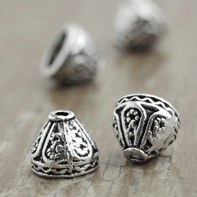 60pcs Vintage Tibetan Zinc Alloy Antique Silver Cone Bead Caps 7.5x9x9mm New