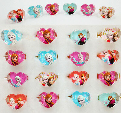 10pcs Heart Shape FROZEN Ana/Elsa Cartoon Rings Kids Birthday Xmas Party Rings