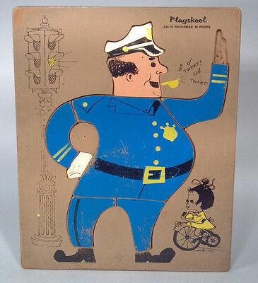 FA Vintage Playskool Police Officer Traffic Cop Wood Frame Tray Puzzle