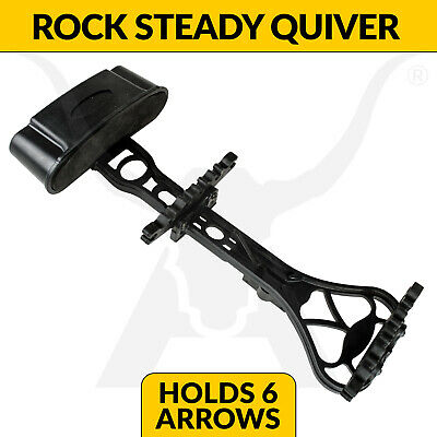 Apex Rock Steady 6 Arrow Bow Quiver - Black - Archery + Hunting Compound Bows
