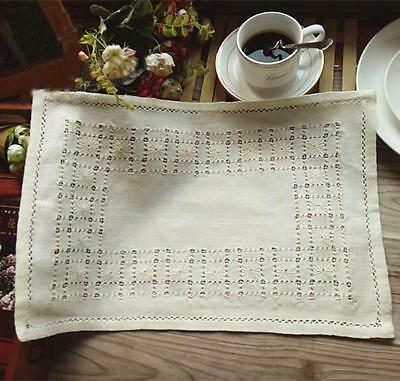 England Vintage Style Hand Flower Embroidery Hemstitch Cotton Beige Table Topper