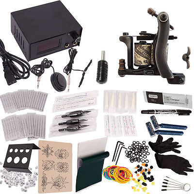396 pcs Complete Tattoo Machine Kit Power Supply Gun Needles Grip Tip Ink Cup