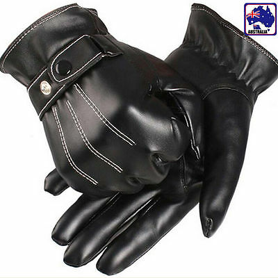 Men's Cool PU Leather Winter Wrist Glove Driving Black Warm Gloves CGLOV 3339
