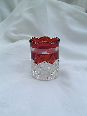 Button Arches Ruby Flashed Toothpick Holder EAPG