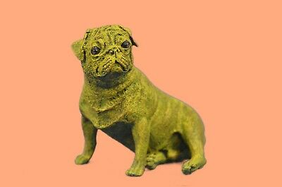 Art Deco Museum Quality Yellow Patina Cute Pug Dog Bronze Sculpture Statue