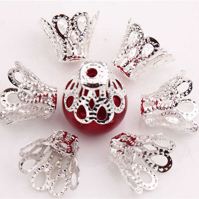 100 Pcs Filigree Flower Cup Shape Silver Loose Bead Caps for Jewelry Making CA07