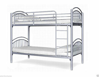 Childrens Yorkshire Silver Bunk Bed Metal Twin Sleeper Kids Bed Frame
