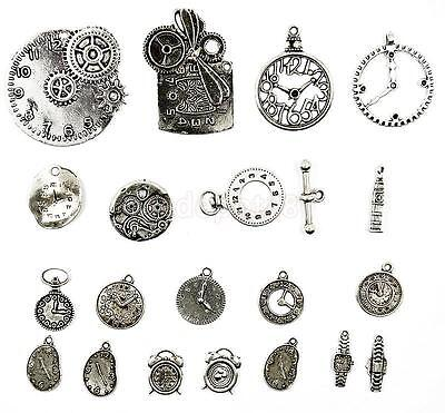20 Antique Silver Clock Watch Charm Pendant Steampunk Jewelry Craft Findings