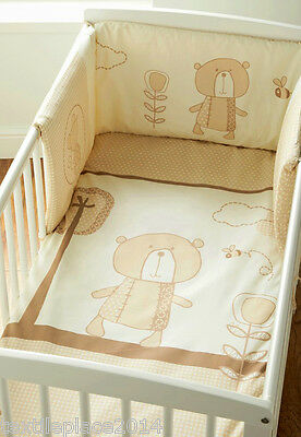 Luxury 100% Egyptian Cotton Quilt and Bumper Set Teddy Bear Cream Cot Beding