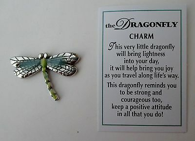 p2 1x Dragonfly POCKET TOKEN CHARM ganz traveler travel strong courage positive